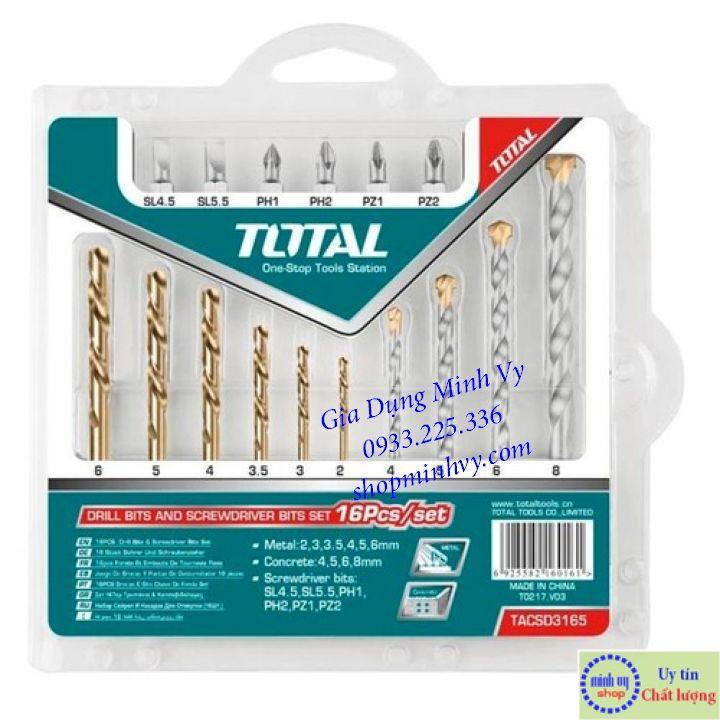 Bộ 16 mũi khoan và đầu bắt vít Total TACSD3165