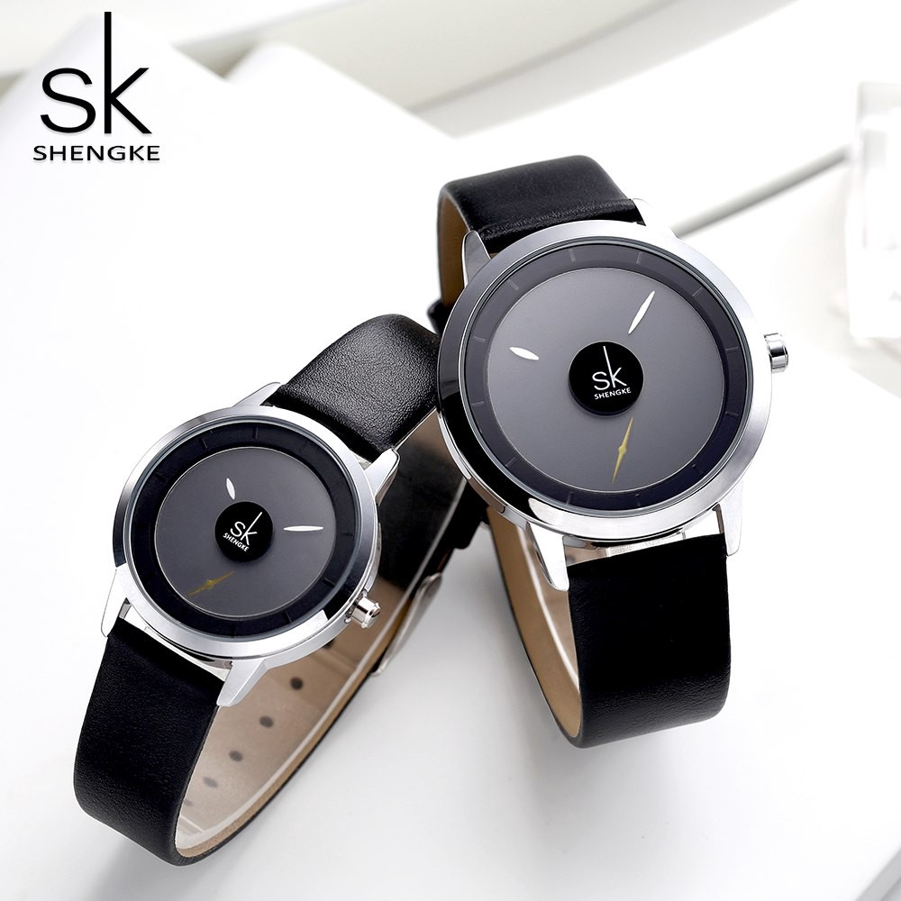 Đồng hồ đeo tay Shengke dây đeo bằng da thời sang trọng cho nam và nữ