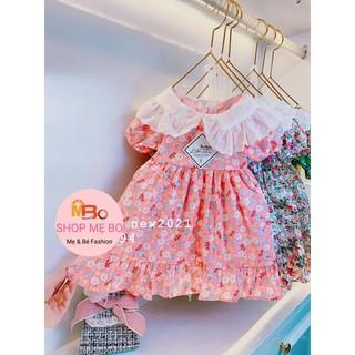 Váy bé gái thiết kế hoa thêu tay ngắn chất thô mềm