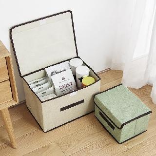 Combo 2 hộp túi vải đựng đồ thùng đựng quần áo đồ lót đồ chơi đa năng bằng vải cứng, có nắp đậy không cần tủ tiện dụng