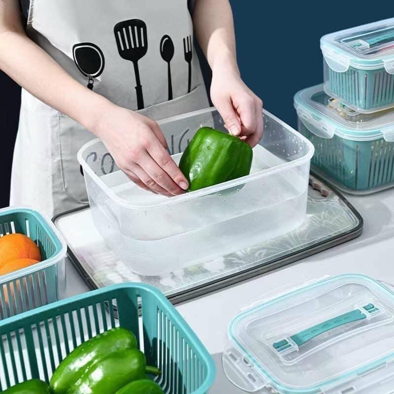 Sét 5 hộp đựng thực phẩm có nắp đậy cao cấp, khay nhựa để tủ lạnh kèm rổ  ráo nước bảo quản thức ăn tiện dụng   Shopee Việt Nam