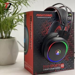 Tai nghe Gaming có mic có dây leg 7 màu ASSASSINS X8 chuyên cho game thủ