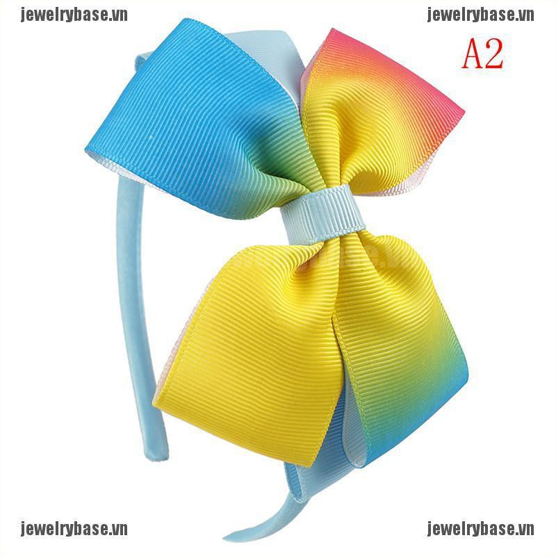 Băng đô ruy băng màu sắc cầu vồng xinh xắn cho bé gái