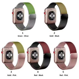 Dây đeo Apple Watch Strap 38/40mm 42/44mm Đôi màu kim loại Milanese Loop Khóa từ tính cho iWatch Series SE 6/5/4/3/2/1