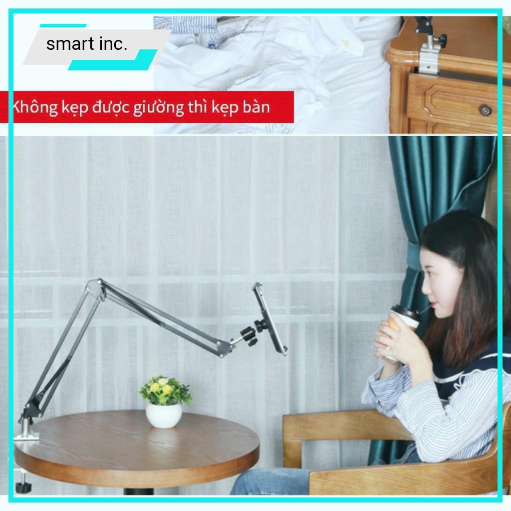 Kẹp Chân Đế Ipad Iphone Samsung Coi Xem Phim Chơi Game Livestream Giá Đỡ Điện Thoại Bằng Thép Để Treo Đầu Giường Để Bàn