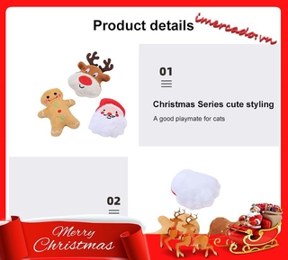 (✪ω✪) Pet Supplies Cat Self-excited Toy Stuffed Cotton Puppet Christmas Set Cat Toys