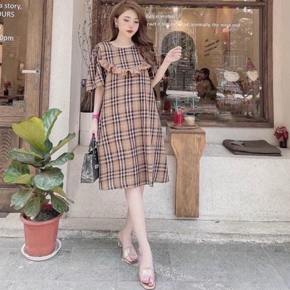 Mặc gì đẹp: Dễ chịu với Váy bầu thời trang thiết kế M311 chất đũi hàn freesize từ 45 đến 70kg