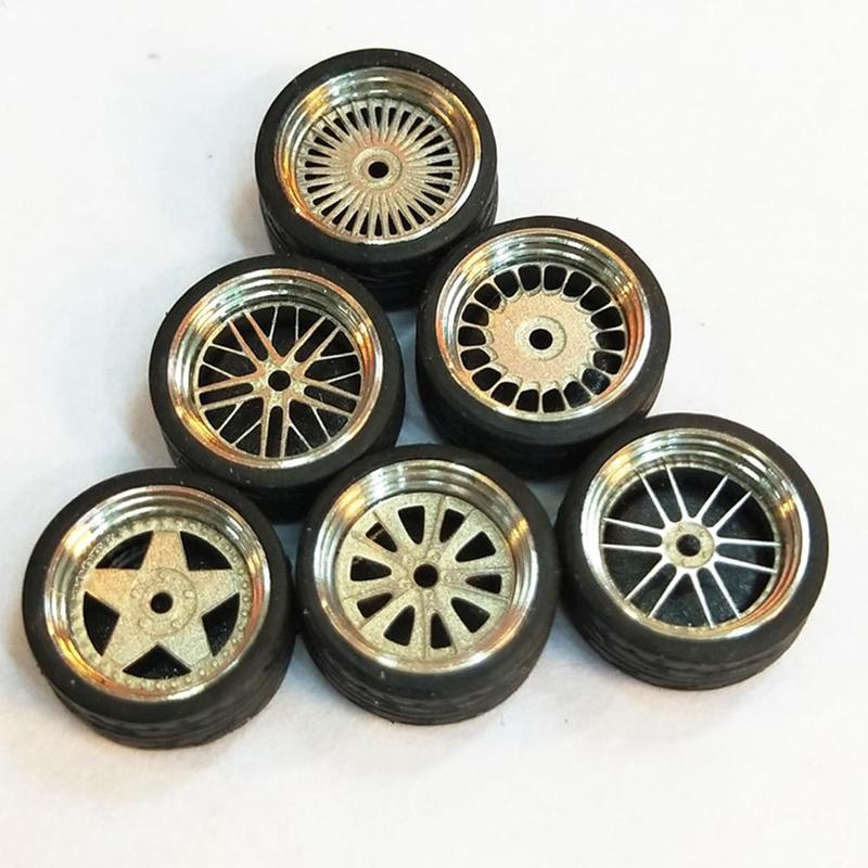 4Pcs/Set 1:64 Car Metal Rubber Wheel Tire Model Universal Modification Accessories