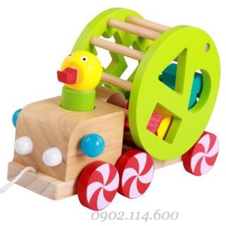 Ô tô vịt kéo thả hình bằng gỗ