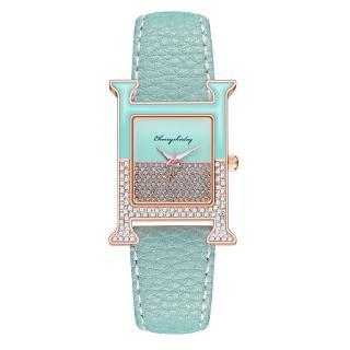 Đồng hồ Nữ dây da mặt vuông đính kim cương giả máy Quartz hợp thời trang sang trọng
