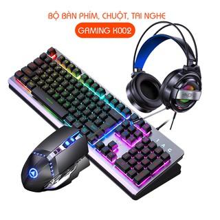 Yêu Thích(MỚI 2020) Combo Bộ Bàn Phím Gaming 1AC K002 (16 Hiệu Ứng Led RGB), Tai nghe Gaming Led, Chuột Gaming Led G3Pro