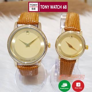 Đồng hồ cặp đôi nam nữ Longbo dây da đẹp đeo tay chính hãng chống nước mạ vàng thời trang thumbnail