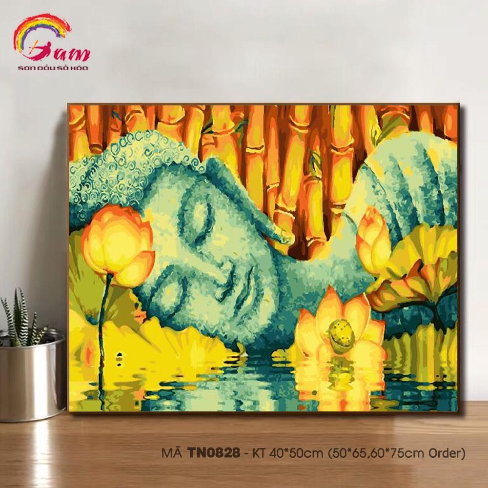 Tranh tô màu theo số sơn dầu số hóa TN0828 Tranh Đức Phật hoa sen Paint by numbers kit