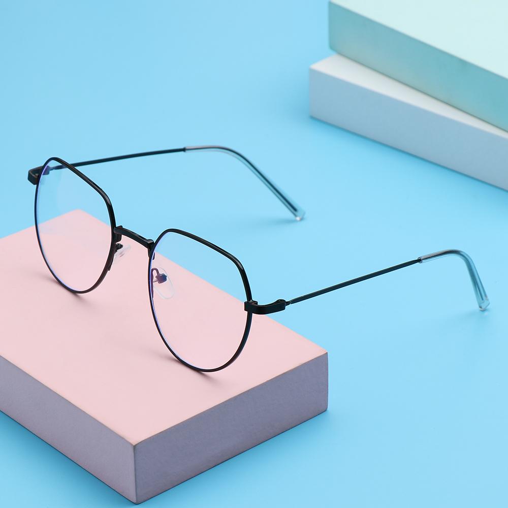 ❤LANSEL❤ Fashion Anti-Blue Light Eyeglasses Computer Ultra Light Frame Metal Glasses Portable Women Men Polygon Vintage Eye Protection/Multicolor