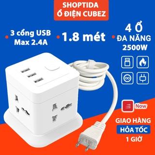 Ổ Cắm Điện Đa Năng CubeZ Shoptida sạc tối đa tổng 12W và 4 Ổ Điện chịu tải 2500W Dây nối dài 1.8m