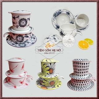Bộ phin pha cafe 5 chi tiết hoạ tiết vẽ tay gốm sứ Bát Tràng thumbnail