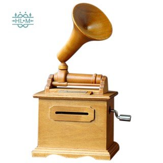 Diy Paper Tape Musical Boxes Wooden Hand-Cranked Phonographmusic Box
