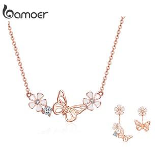 Bộ vòng cổ + hoa tai Bamoer BSE100BSN053 bằng bạc 925 hình bướm mạ vàng hồng thời trang cho nữ