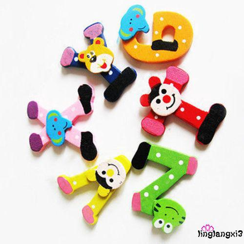 LL.-26 Magnetic Letters A-Z Wooden Fridge Magnets Baby Kid Education Toys
