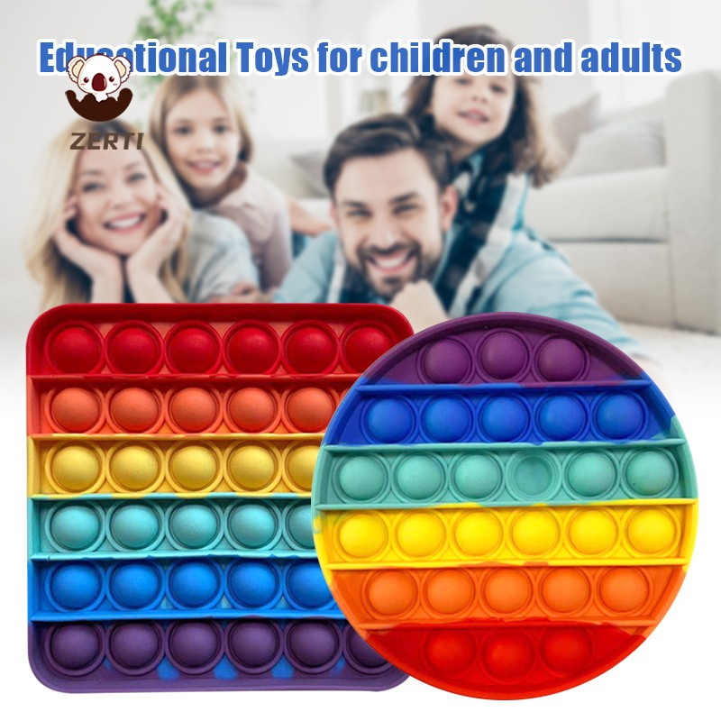Zerti Rainbow-color Kid's Mathematical Toy Desktop Sensory Toy Bubble up to Relieve Stress Puzzle Game for Killing Time