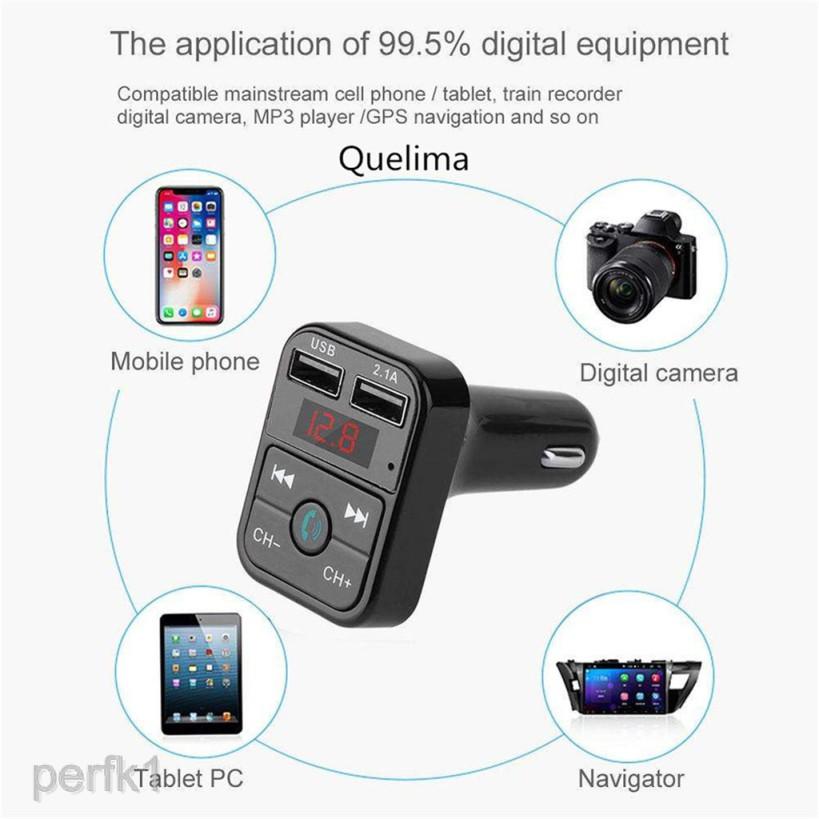 Thiết bị thu phát Bluetooth phát nhạc và đài FM với 2 cổng sạc USB cho xe ô tô