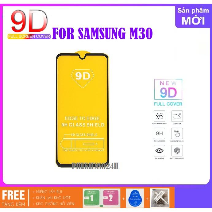 Samsung Galaxy M30_Kính cường lực 9D Full màn hình Full Keo Tặng keo chống hở mép