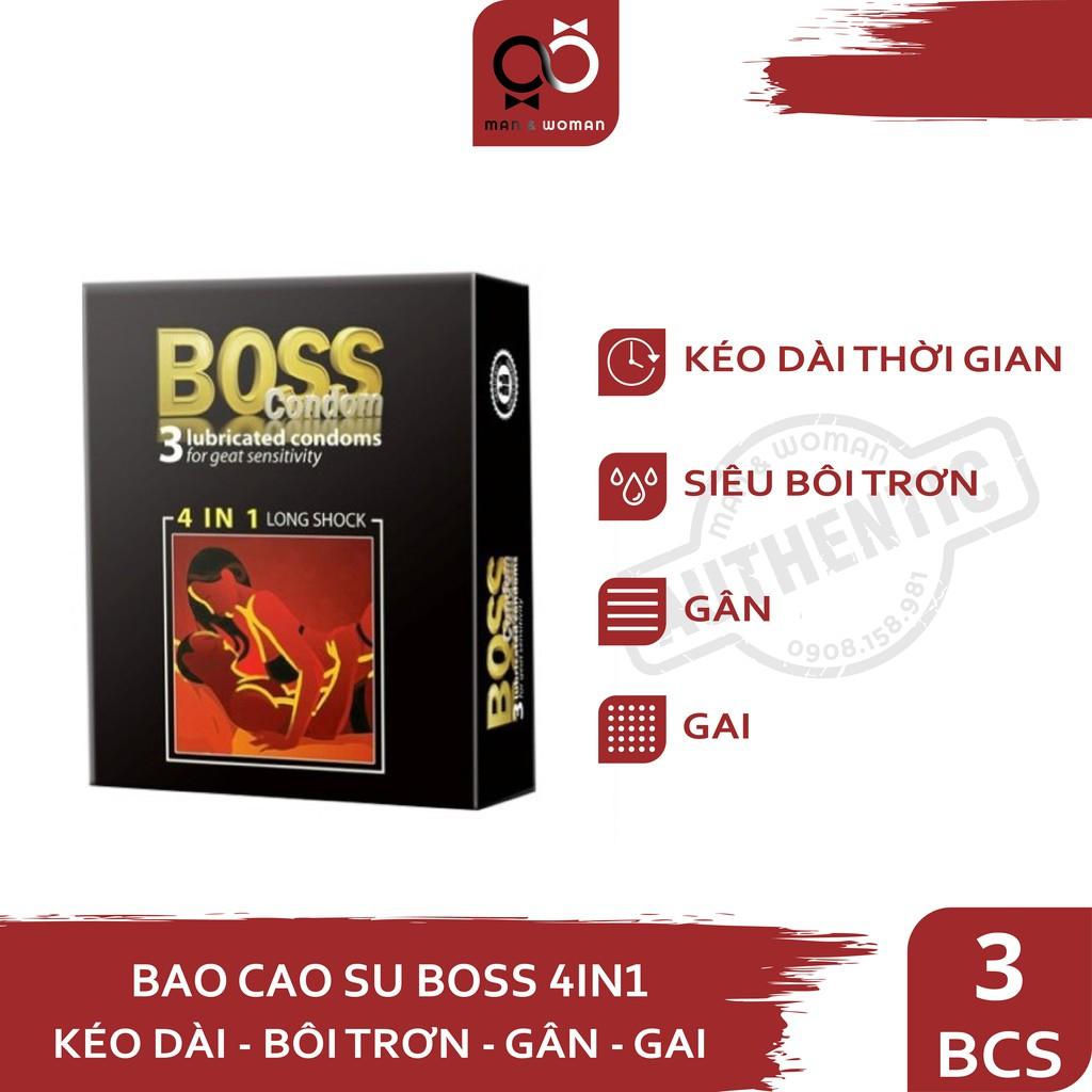 Bao cao su 4in1 Boss Gân Gai Kéo dài thời gian Siêu Mỏng Hộp 3 cái CON029
