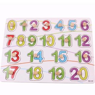Bảng ghep hình núm gỗ chữ số