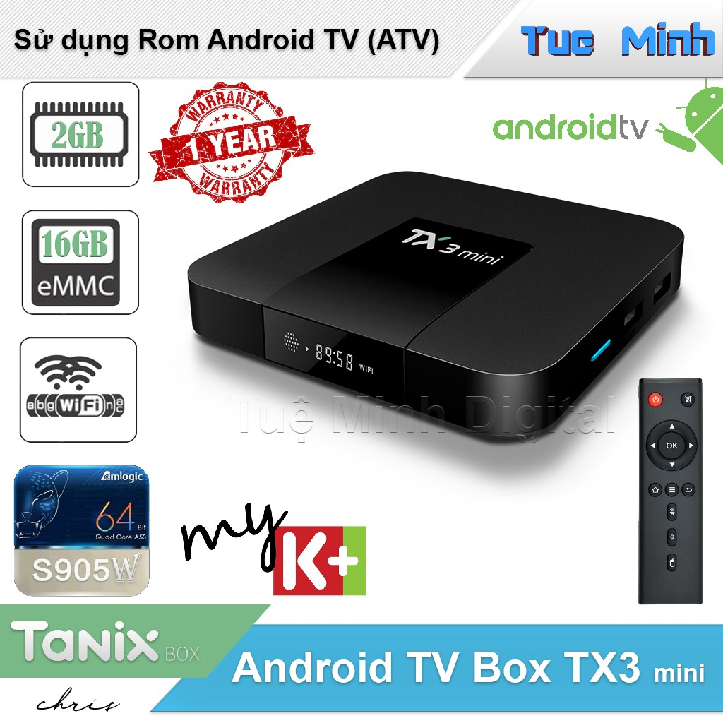 Android TV Box TX3 mini - Ram 2GB, bộ nhớ trong 16GB, Bluetooth