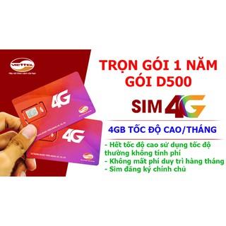 Sim 4G Viettel Trọn Gói 1 Năm (4GB/Tháng – Gói D500)