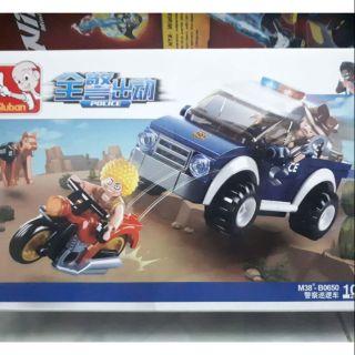 Lego sluban 0650 xe cảnh sát bắt cướp chạy moto đỏ anh hùng bắt kẻ xấu sieu anh hung canh sat xe hoi chien dau ac nhan