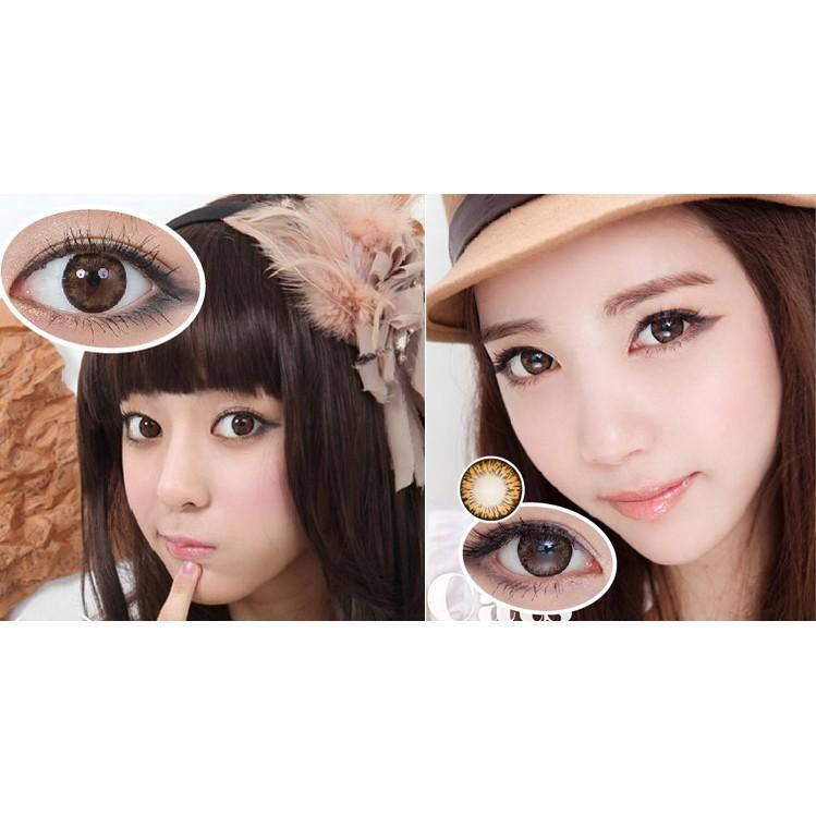 Lens-kính áp tròng Hàn Quốc chính hãng, Màu Nâu, (1 cặp lens+khay gương)
