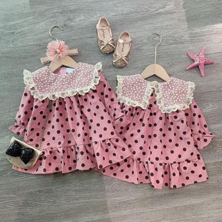 Váy chấm bi hồng dáng xoè cho bé gái, Vay cho be, Vay tre em