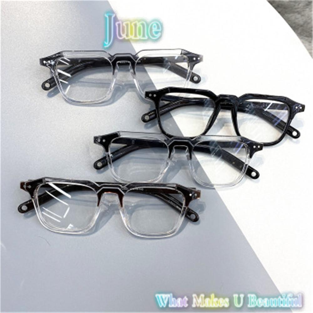 JUNE Fashion Myopia Glasses Square Frame Vision Care Optical Eyewear Office Computer Goggles Classic Unisex Vintage Eyeglasses transparent/black/leopard