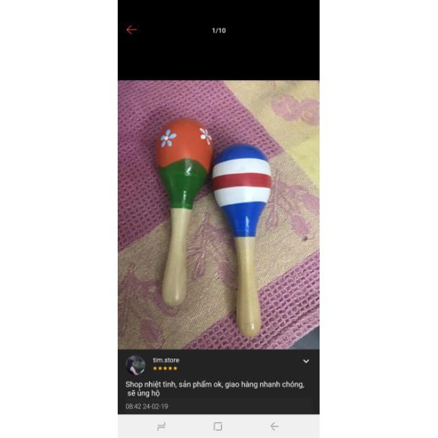 [GIÁ SỐC] Lục lạc gỗ đầu tròn đồ chơi cho bé | Shop Mẹ Sóc