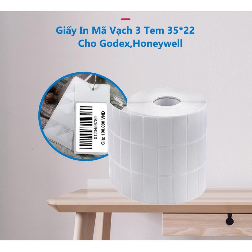 Combo 5 Cuộn Giấy In Mã Vạch 3 Tem 35*22 In Mực Cho Godex,Honeywell