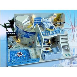 Mô hình nhà búp bê DIY biệt thự biển Địa Trung Hải 2 tầng có bể bơi