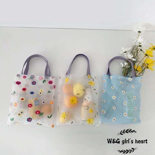 <24h delivery> W&G  W&G Beach style translucent mesh bag embroidery portable shopping bag Japanese small bag