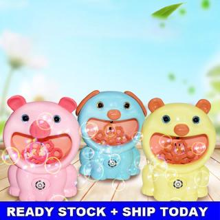 Children Cartoon Piggy Bubble Machine Automatic Music Electirc Cute Dog Pig Bear Toy