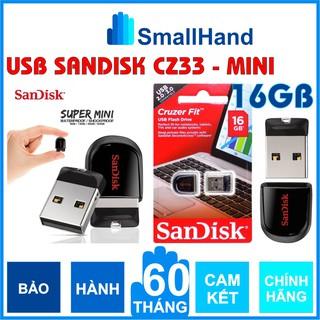 USB chịu nước – SanDisk 16GB Chính Hãng – Cruzer Fit CZ33 – USB Flash Diver – Bảo hành 5 năm – Siêu nhỏ