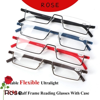 ROSE Vision Care Reading Glasses with Case Semi Rimless Reader Eyeglasses Portable TR90 Ultralight Unisex Half Frame/Multicolor