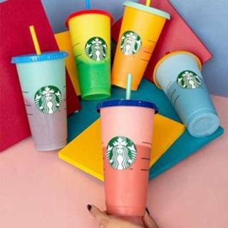 Ly Nhựa Đổi Màu Starbucks Có Thể Tái Sử Dụng Thiết Kế Độc Đáo Ly nhựa 24OZ Starbucks có thể đổi màu và tái sử dụng kèm nắp đậy và ống hút ZANKER