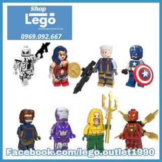 Xếp hình Iron man Wonder woman Anti Spider-Man Captain America Aquaman Marvel DC Comics Lego Minifigures POGO PG8209 thumbnail