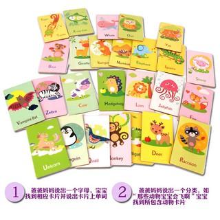 Bộ thẻ gỗ 26 chữ cái tiếng anh và hình động vật trí tuệ cho bé_Đồ chơi gỗSmartKids