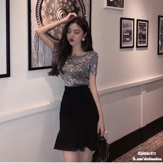 Áo kim sa Bling Bling lệch vai chanh sả co dãn thoải mái style Korea