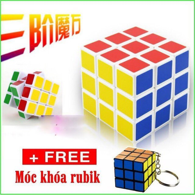 [GIÁ SỐC] Rubik đẹp, xoay trơn, không rít, độ bền cao, Rubik 3x3 Tặng kèm móc khóa [VPP Minh Hạnh]