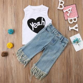 ☀Sun❤Cute Kids Baby Girls Yeah Letters Printed Sleeveless White T-Shirt Tassels Denim Pants 2pcs Outfits Sets