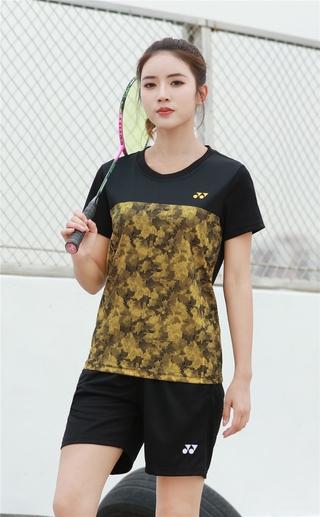 2021 New Arrival Yonexs Badminton Clothes Breathable Quick-Dry Stripe Jersey Shirts+Shorts woman Sets Couple Sets yellow black
