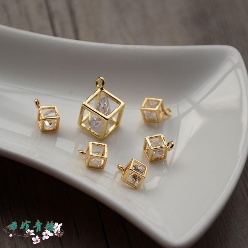 Junyi blue silk pure copper plated 24K real gold edge 7/13MM three-dimensional square zircon pendant handmade jewelry di