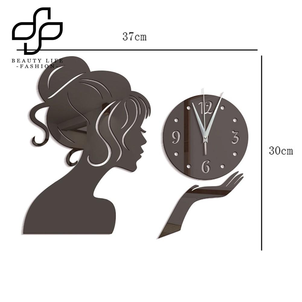 Sticker Dán Tường Hình Đồng Hồ Cô Gái Chống Thấm Nước